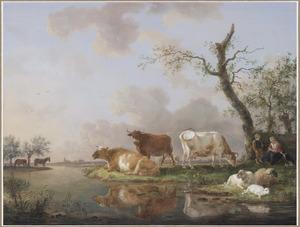 Polderlandschap met vee bij een sloot