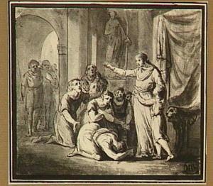 Vrouw met kind bij een troon, smekelingen wegzendend