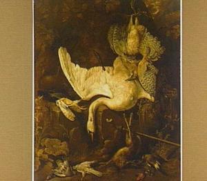 Jachtbuit van een zwaan, een haas en divers gevogelte