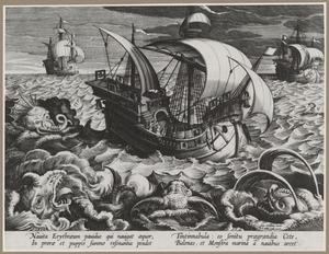 Zeelieden schrikken zeemonsters af door bellen op hun schepen, in de Erythraeische zee