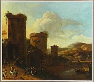 Zuidelijk landschap met de Ponte Lucano over de Aniene en het graf der Plautii bij Tivoli