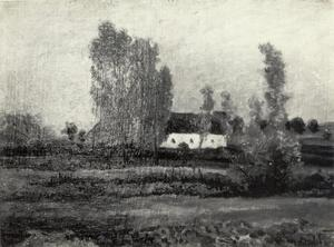 Heidelandschap met witte boerderij