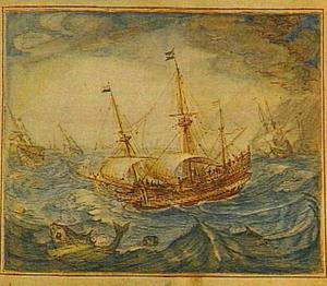 Schepen op zee bij zwaar weer