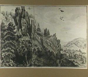 Bergachtig rotslandschap met figuren, in de verte een dal met rivier
