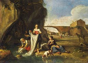 Wasvrouwen bij een beek in een zuidelijk landschap