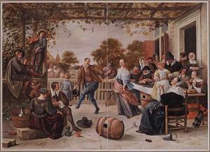 Dansend paar bij feestelijk samenzijn op een terras