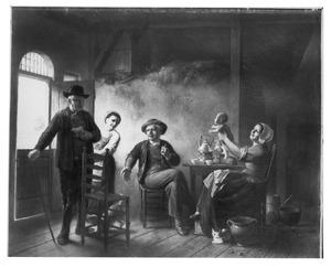Boeren-interieur met figuren