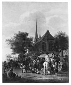 Dorpsgezicht met markt bij een kerk