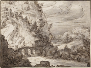 Berglandschap met stenen brug over rivier