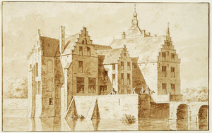 Linker- en voorzijde van kasteel Loenen bij Elst (Overbetuwe)