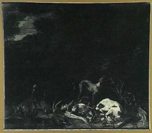 Landschap met honden en jachtbuit, een jager in de achtergrond