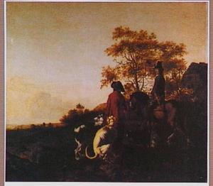 Jager te paard met knecht en honden in een landschap