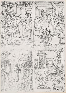 Schetsboekblaadje met vier voorstellingen uit het leven van de H. Giovanni Gualberto
