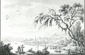 Rijnlandschap met bedrijvigheid en gezicht op een stadje aan het water
