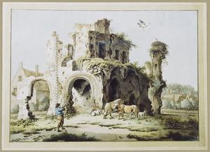 Ruïne van de Abdij te Rijnsburg, vanuit het zuid-oosten