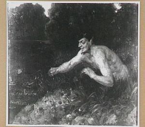 Faun spelend aan de waterkant