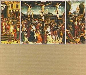 Kruisiging met op de zijluiken Ecce Homo (links) en Opstanding (rechts)