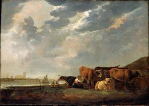 Koeien bij de Oude Maas, met Dordrecht in de verte