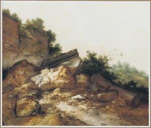 Berglandschap met herders nabij een klassieke ruïne