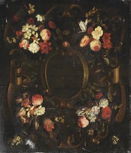 Stenen cartouche versierd met bloemen