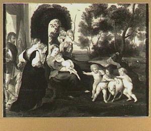 Joris en de draak, de Heilige familie en putti in een landschap