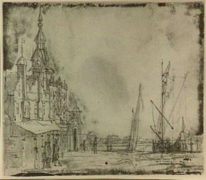 Dordrecht, de Groothoofdspoort gezien vanuit het noord-oosten