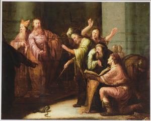 De tovenaars van Farao veranderen hun staf in een slang, doch Aärons in een slang veranderde staf verslindt ze alle (Exodus 6:12-13)