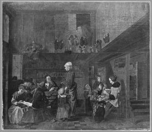 Schoenmaker met zijn gezin en een klant in het voorhuis