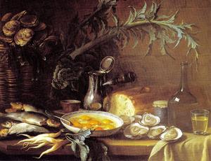 Stilleven met oesters, vis en brood