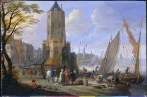 Haven met handelaars en schepen