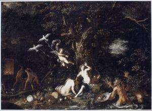 Venus in een landschap met personificaties van de vier elementen