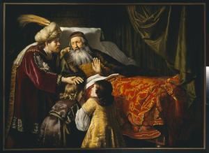 Jakob zegent Jozefs zonen, Efraim en Manasse (Genesis 48:13-20)