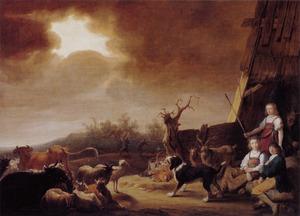 Landschap met de verkondiging aan de herders (engel niet langer zichtbaar)