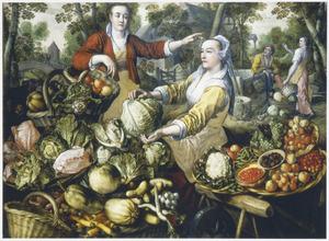 De vier elementen: Aarde: groente- en fruitmarkt met in de achtergrond de vlucht naar Egypte