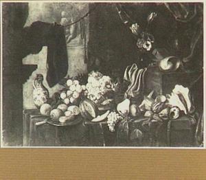 Stilleven met vruchten, bloemen en schelpen