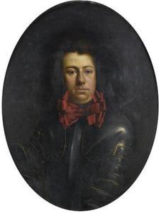 Portret van een man in harnas met een rode strik