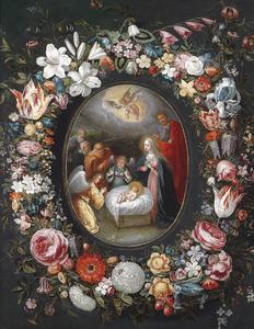 Bloemenkrans rond een voorstelling van met de aanbidding van  Christus