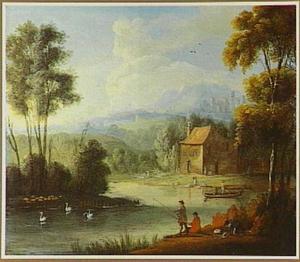 Weids rivierlandschap met hengelaars aan de oever