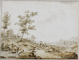 Heuvellandschap met herders en vee