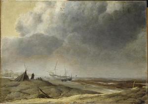 Strandgezicht met boten