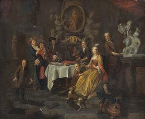 Elegant gezelschap bij een gedekte tafel met een kreeft