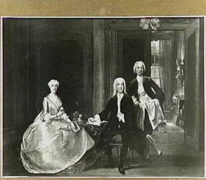 Portret van de familie Tolling Portret van Egidius Willem Tolling, zijn vrouw Golina Smith en zijn zoon Egidius Laurens