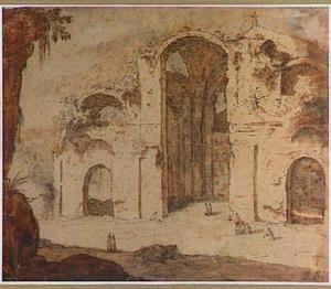 Frigidarium van de Thermen van Diocletianus in Rome, naar het noord-oosten gezien
