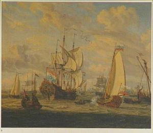 Het V.O.C.-fregat de 'Peter en Paul' op het IJ voor Amsterdam, 1697; rechts op de voorgrond een statiesloep met tsaar Peter de Grote