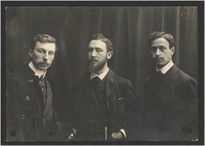 Drie mededingers naar de Prix de Rome voor de schilderkunst in 1907: Tjeerd Bottema, W.F. de Haas en Frans Heyersmans (van links naar rechts)