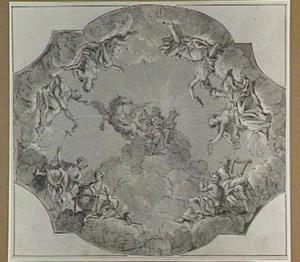 Apollo en Pegasus omringd door de negen Muzen