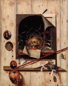 Trompe l'oeil van een atelierwand met een vanitasstilleven