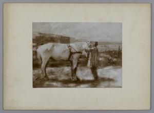 Paard bij bouwwerk