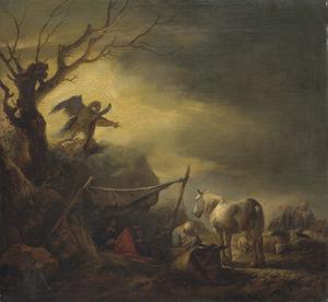 De engel verschijnt aan Jozef en draagt hem op zijn gezin naar Egypte te brengen