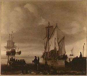 Hollandse schepen op kalm water met op de voorgrond een elegant gezelschap